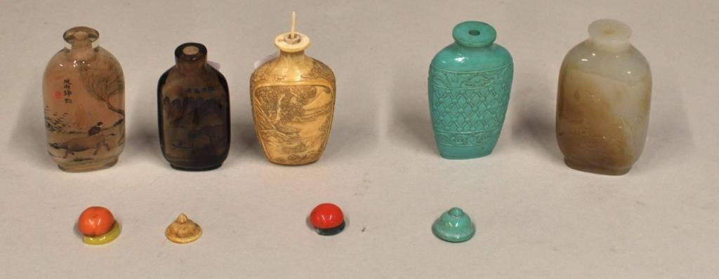 14: Group of Five Asian Snuff Bottles