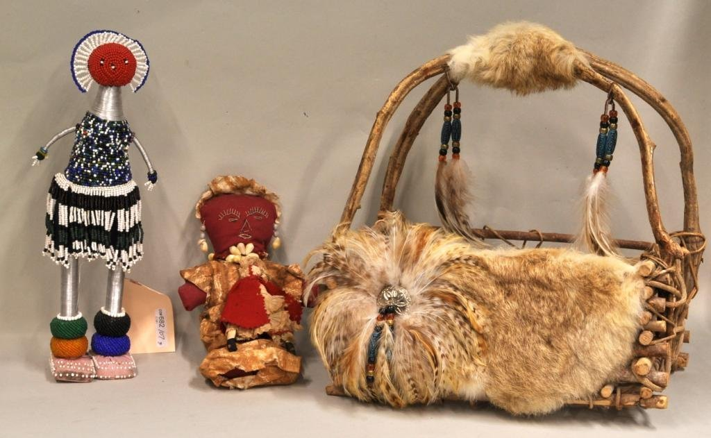 23: Three Native American Doll Figures & Basket