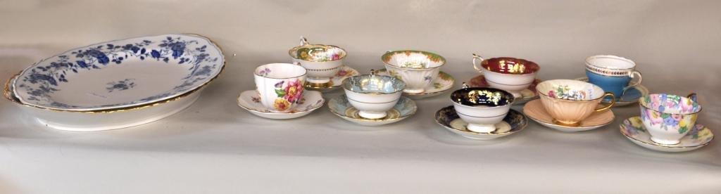 250: Nine China Teacups & Saucers, Two Platters