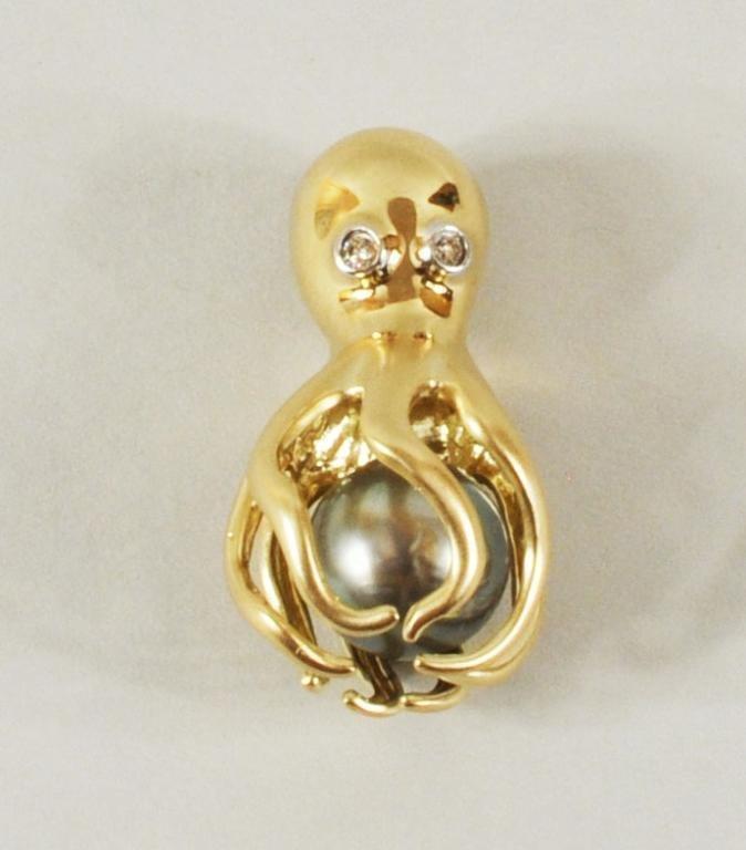 1: 14K Gold, Diamond & Tahitian Pearl Octopus Pendant