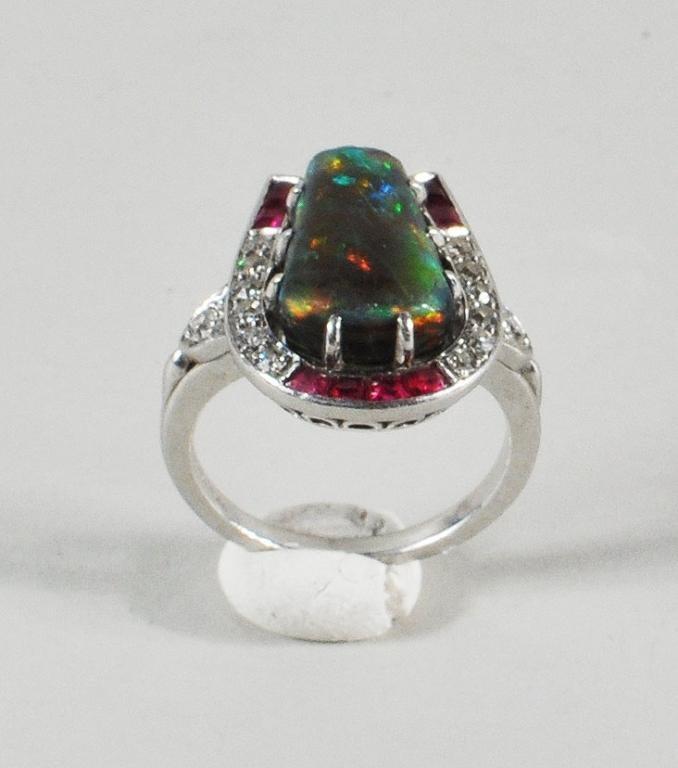 3: Art Deco Platinum, Black Opal, Diamond & Ruby Ring