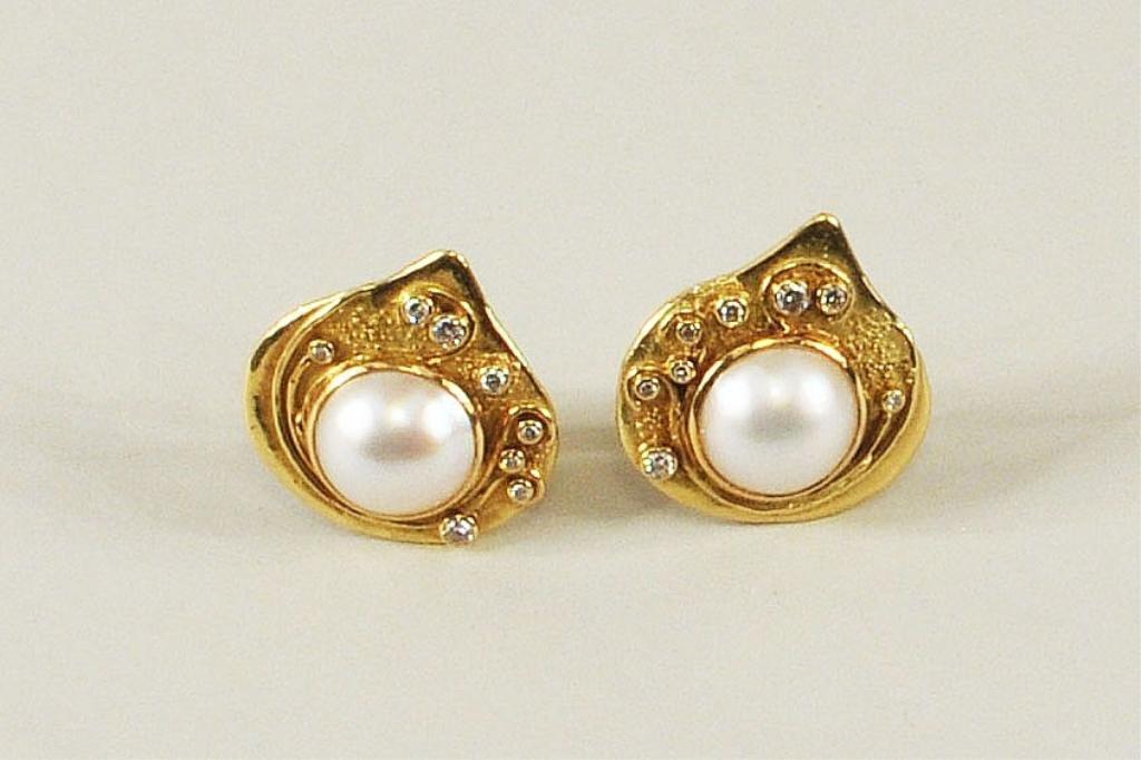 5: Pair Elizabeth Gage Gold, Diamond & Pearl Earrings