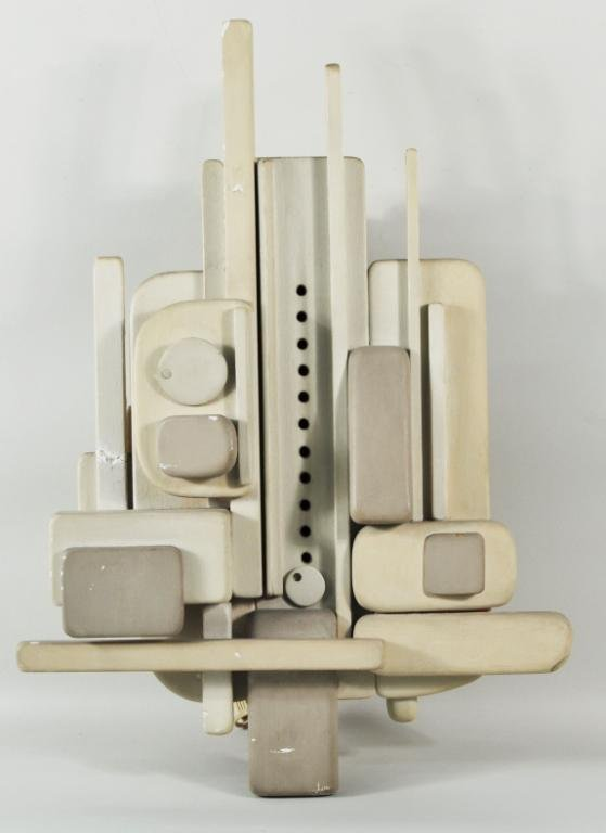8: A. Hoffman, Jr.  Modernist Painted Wood Wall Clock