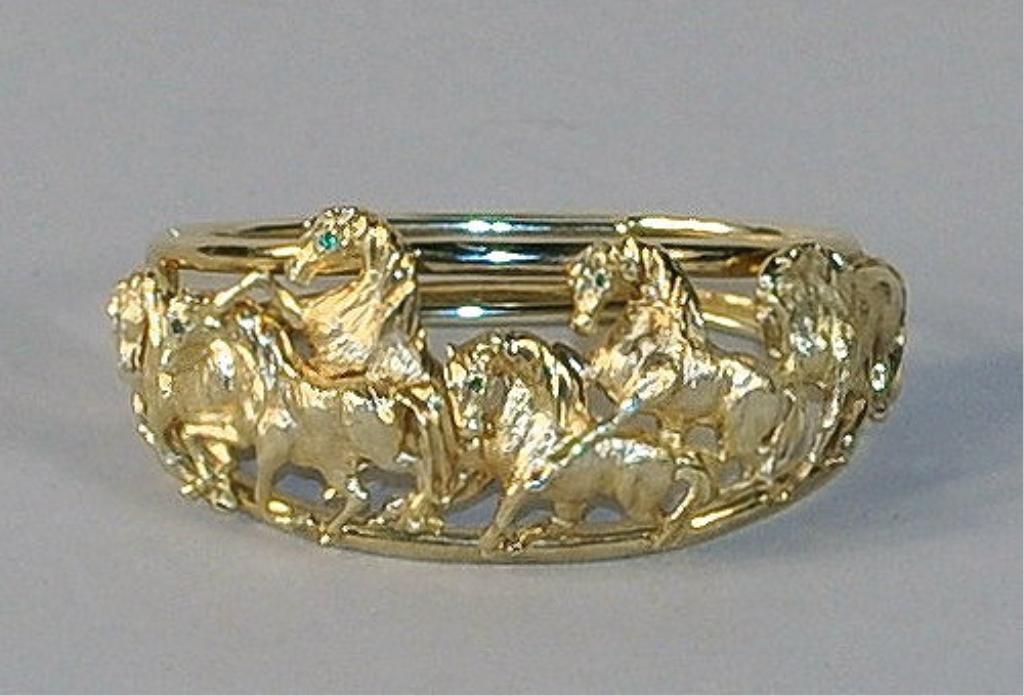 11: 14K Gold Equestrian Theme Bracelet