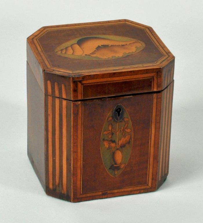 13: Georgian Satinwood Inlaid Mahogany Tea Caddy