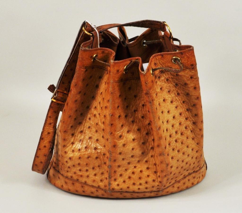 16: Vintage Hermes Ostrich Drawstring Handbag