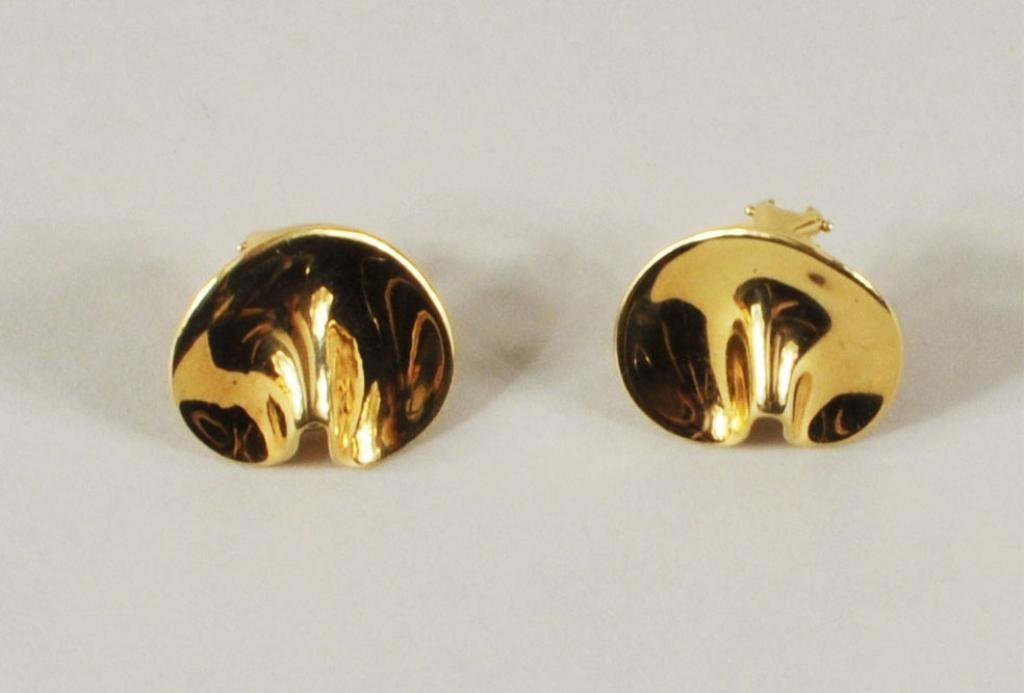 "17: Tiffany ""Fortune Cookie"" 18K Gold Earrings"
