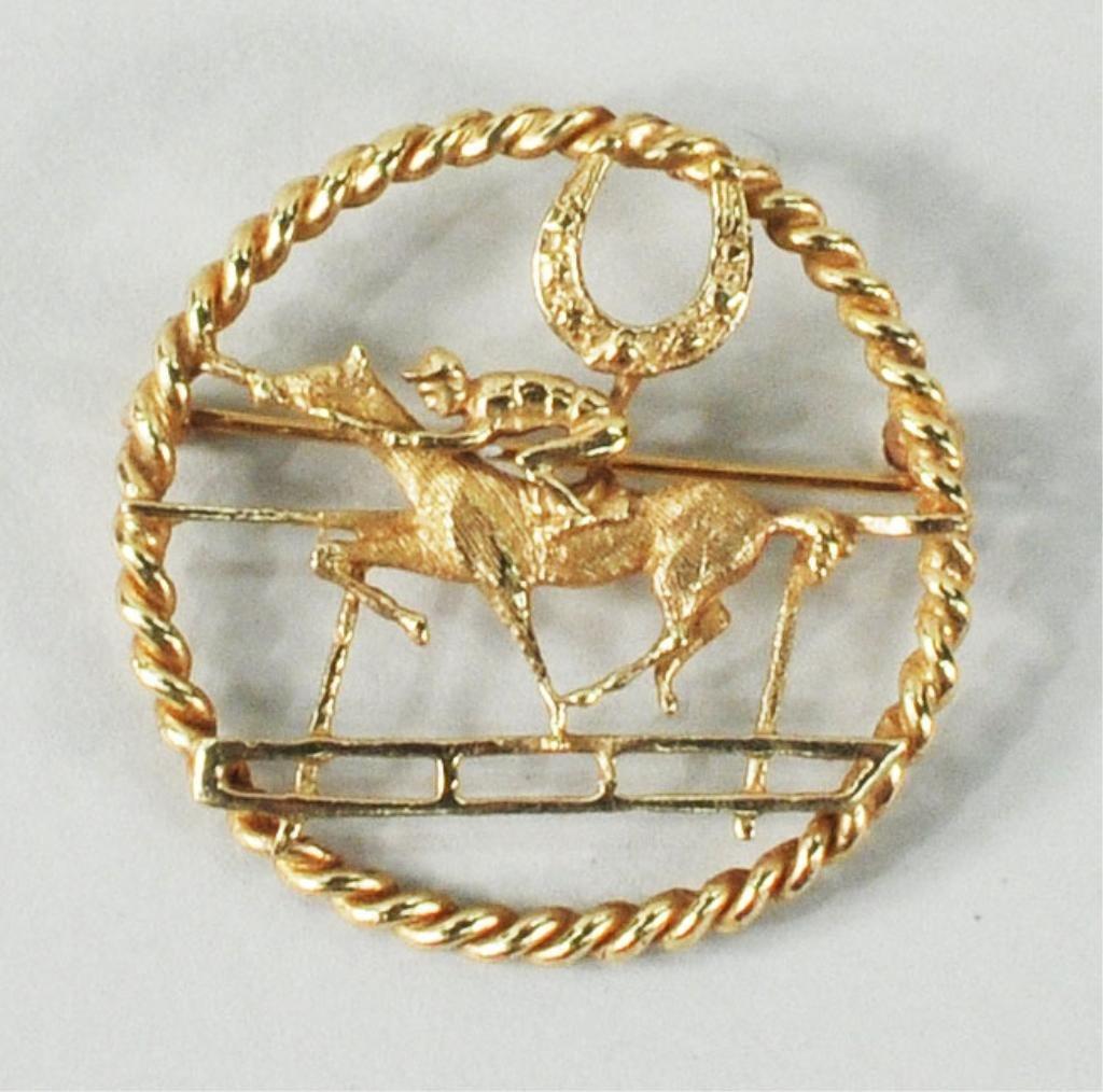 19: 14K Gold Horse & Jockey Pin
