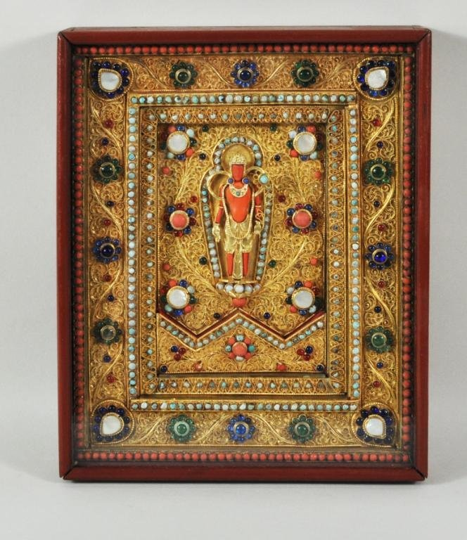 21: Nepalese Gilt Metal Mother of Pearl Inlaid Plaque