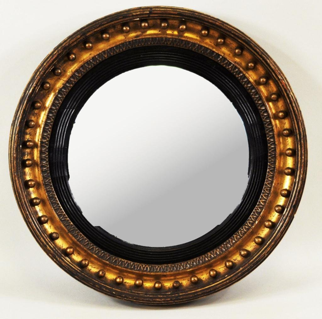 23: Small Regency Period Giltwood Convex Mirror