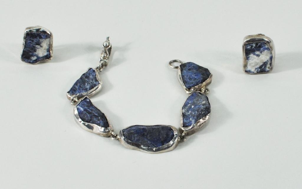 24: Silver (950) & Lapis Bracelet and Earrings