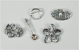 122: Five Sterling Silver Pins