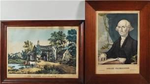 256 Two Vintage Framed Lithographs