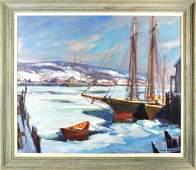 """E. Gruppe, """"Gloucester Winter"""", O/C Harbor Scene"""