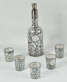 Silver Overlay & Etched Glass Decanter W/5 Glasses