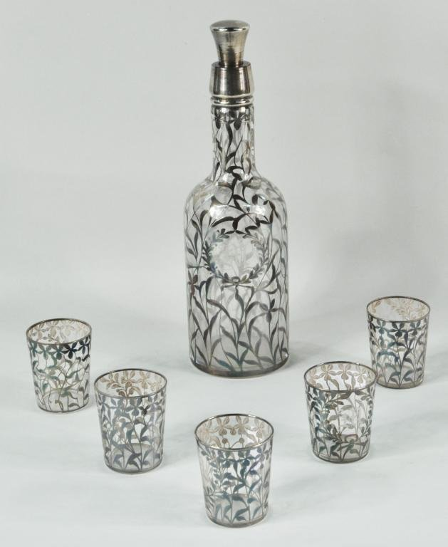 3: Silver Overlay & Etched Glass Decanter w/5 Glasses