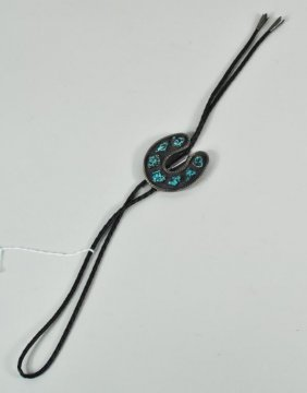 7: Native American Sterling Silver & Turquoise Bolo