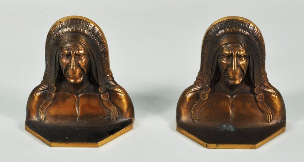 11: Pair Cast Native American Figural Bookends