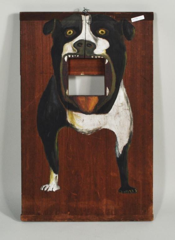 15: Folk Art Carnival Hand Painted Bulldog Toss Game