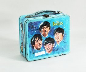 81: Aladdin, Beatles Lunch Box, Thermos, Trading Cards