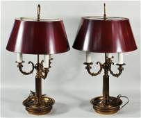 190 Pair Brass Plated 3Light Bouillotte Lamps