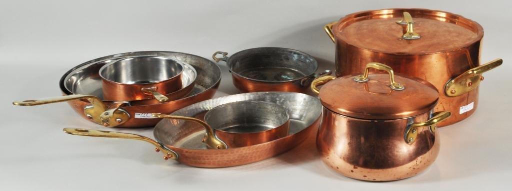 195: Group Eight Copper & Brass Pots & Pans
