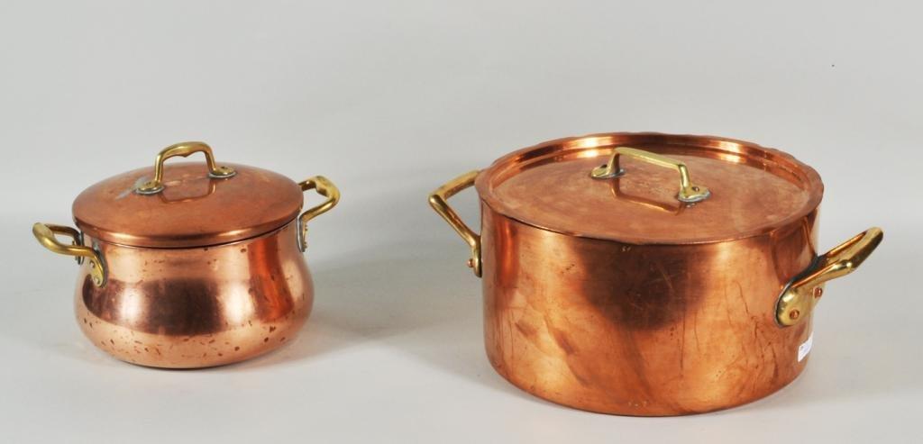 195: Group Eight Copper & Brass Pots & Pans - 2