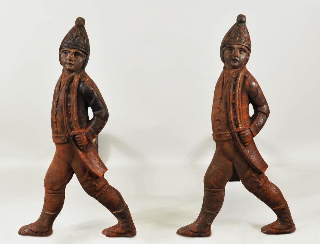 Pair Antique Hessian Soldier Andirons, Boston