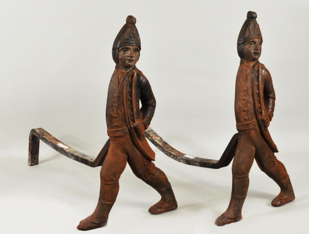 Pair Antique Hessian Soldier Andirons, Boston - 2