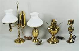 Four Brass Fluid Lamps