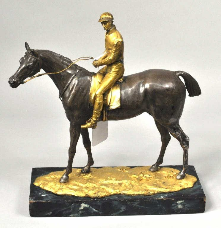 French School, Jockey on Horse Sculpture