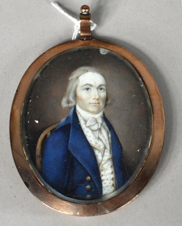 Miniature Portrait of Gentleman, Watercolor/Ivory