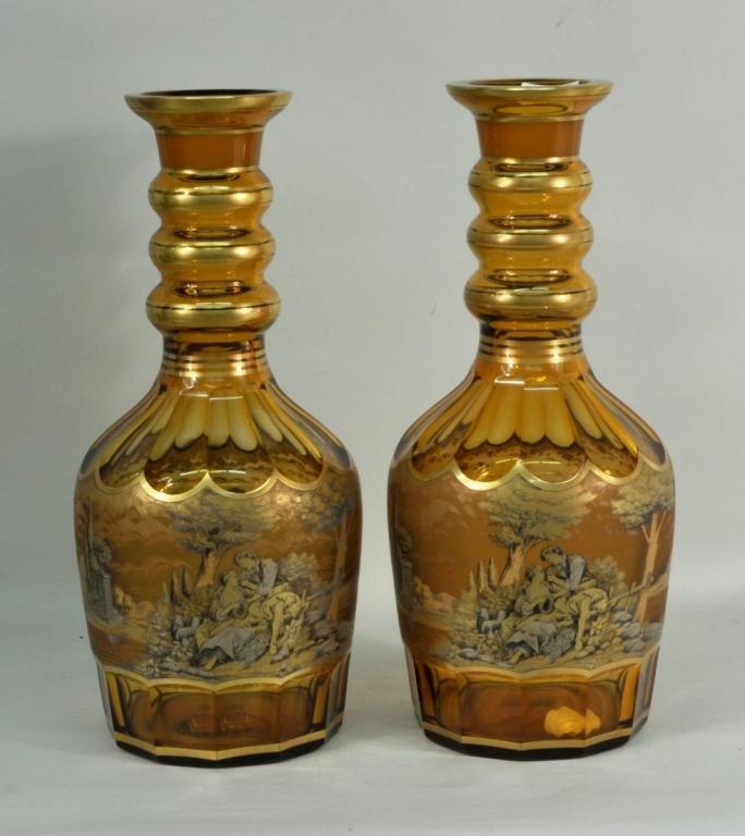 Pair Large Parcel Gilt Cut Amber Glass Vases