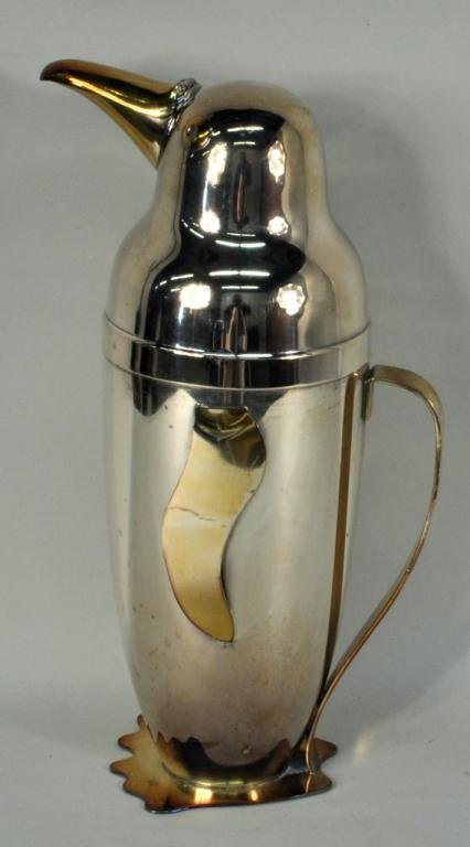 E.Schuelke, Silver Plated Penguin Cocktail Shaker