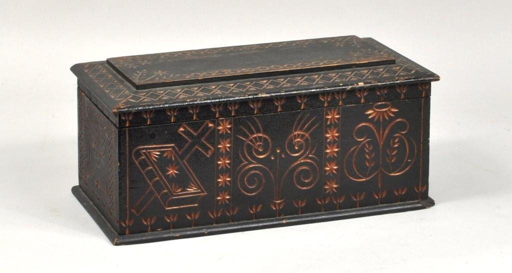 American Folk Art Carved & Painted Box