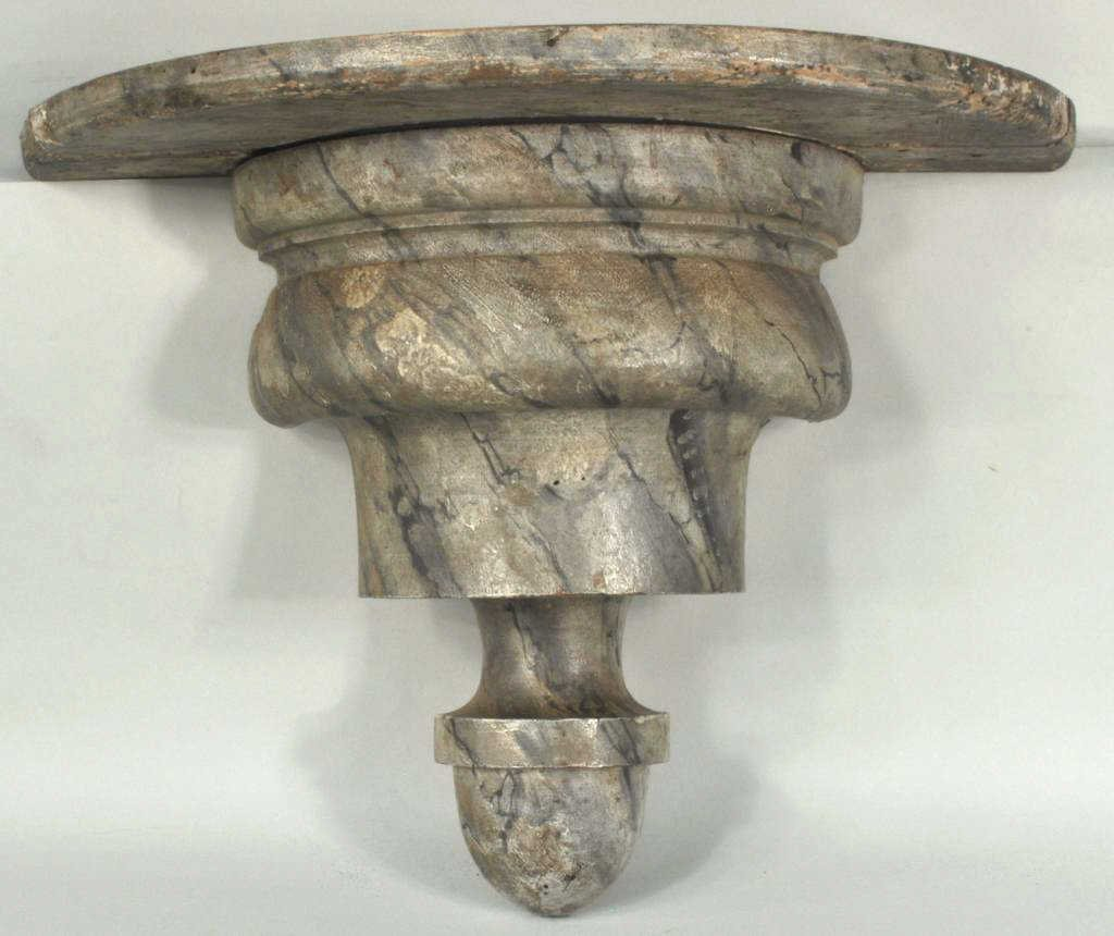 Turned Wood Faux Marble Painted Wall Bracket