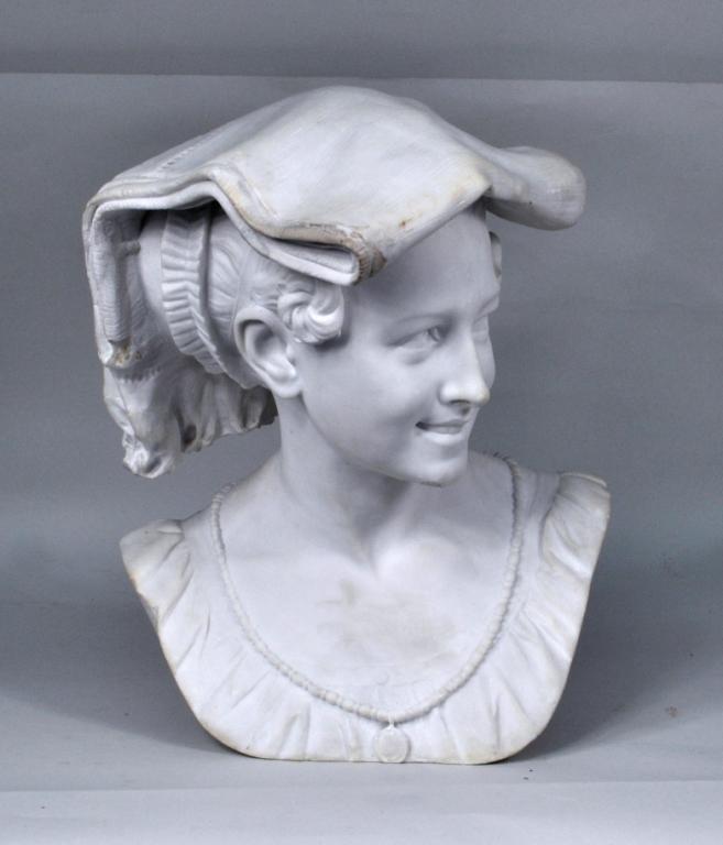 Continental School, Greek Maiden Marble Sculpture