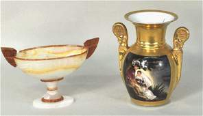 Russian Agate Kalyx Form Vessel & Paris Porc. Urn