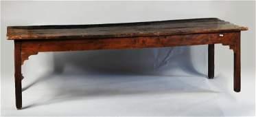 English Yew Wood & Oak Dining Table