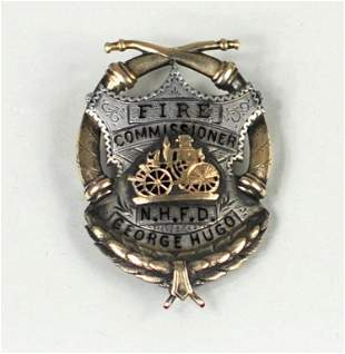 Silver/Gold & Enamel Fire Commissioner's Badge