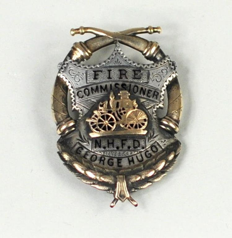 Silver/Gold & Enamel Fire Commissioner's Badge