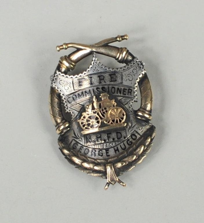 Silver/Gold & Enamel Fire Commissioner's Badge - 2