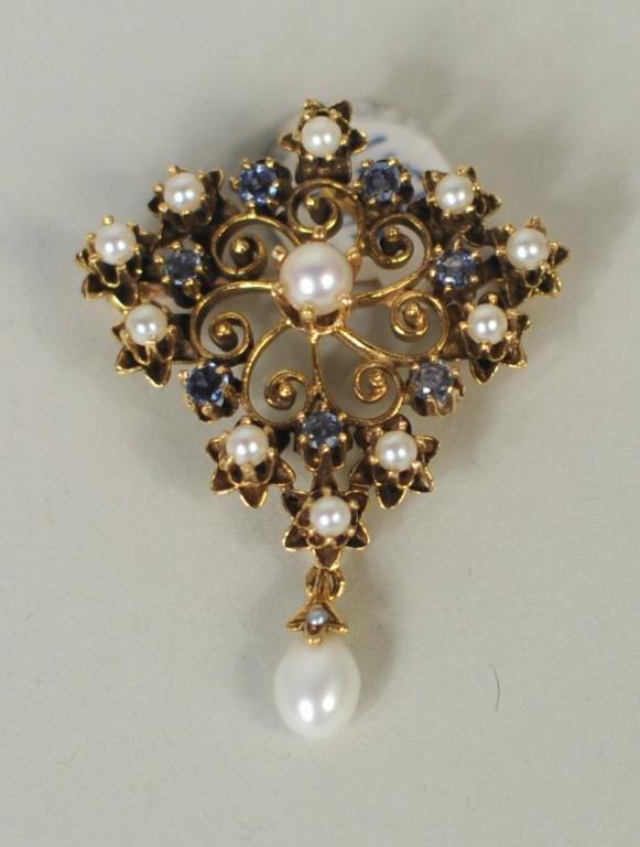 Vintage Pendant Brooch w/Seed Pearls & Sapphires