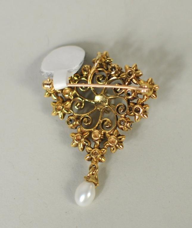 Vintage Pendant Brooch w/Seed Pearls & Sapphires - 2