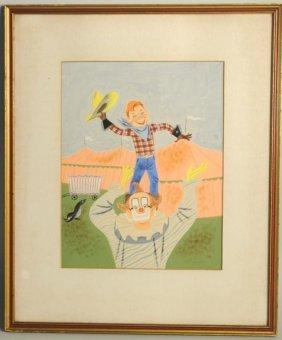 Art Seiden, Tempera/Paper Howdy Doody & Clown