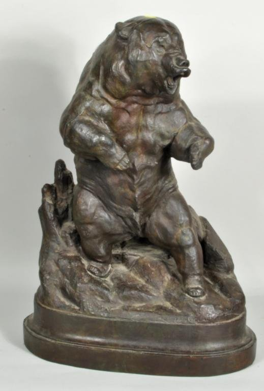 J.L. Clarke, Signed Grizzly Bear Bronze