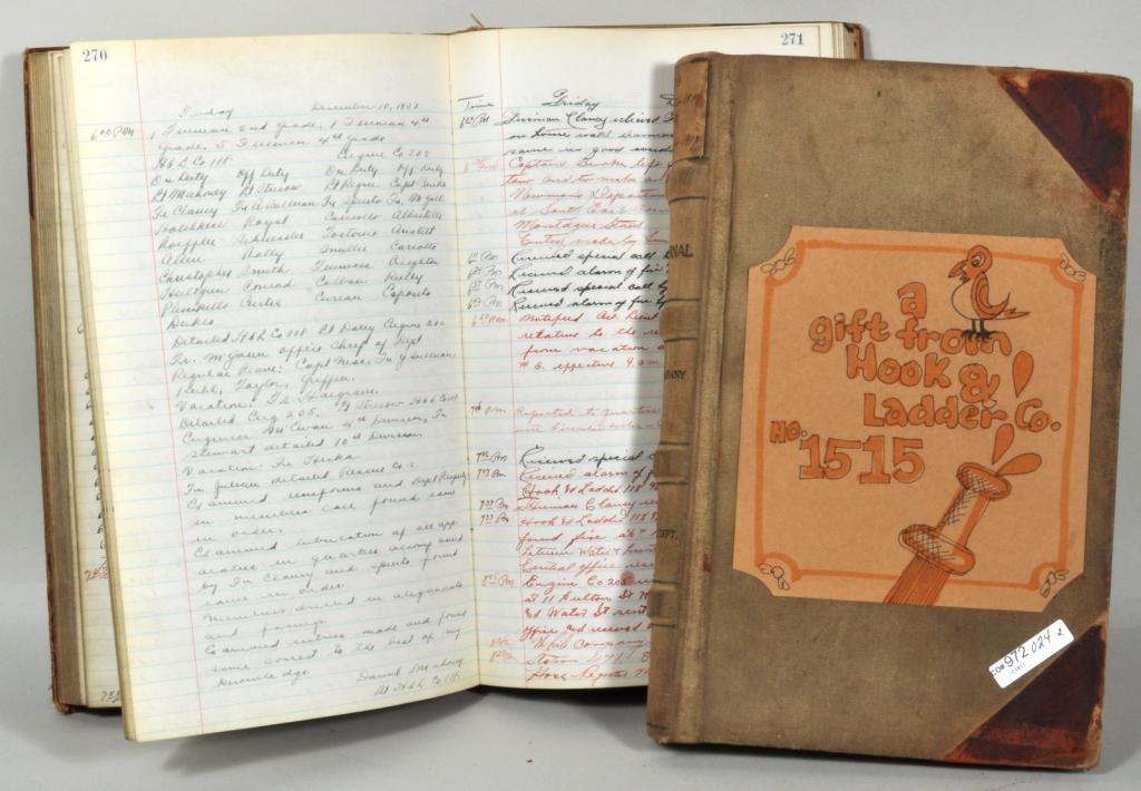 Two NYC Fire Station Record Books