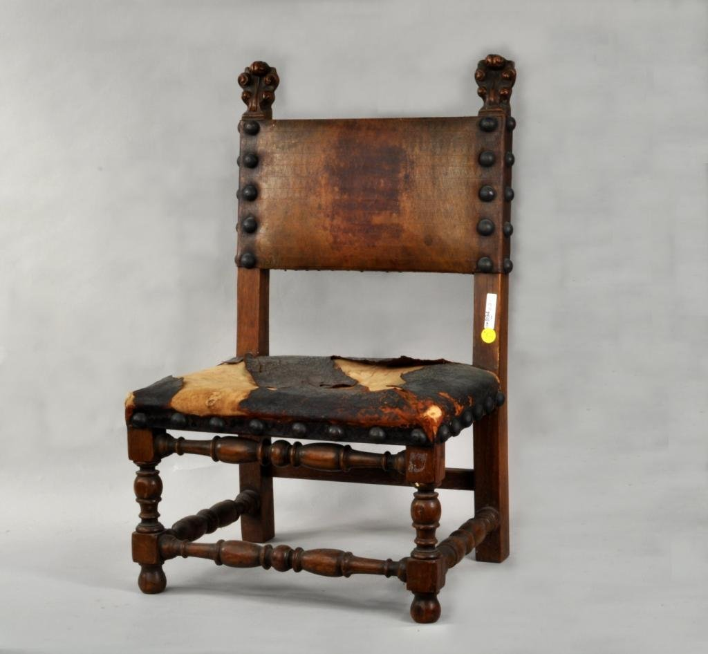 French Charles X Carved Oak Child's Side Chair