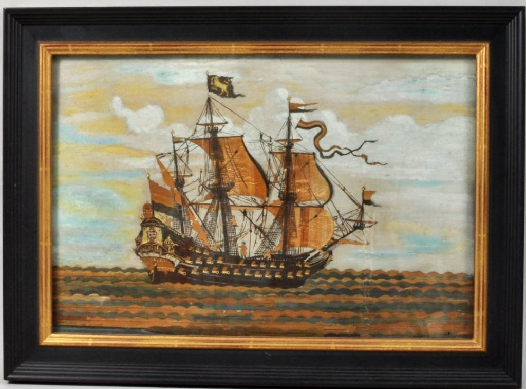 French Straw Work Picture of Three Mast Ship