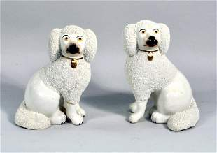 Pair Small Staffordshire Poodles